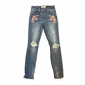 Blue Denim Floral Embroidered Jeans Garage